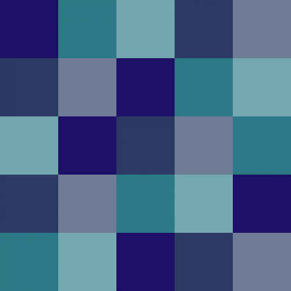Grid of squares in tracydempsey.co colours (blues and greens)
